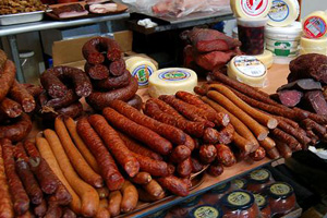 european meat, European deli meats, kolbases, salo (pork fat), bacon, salami, sausages in syracuse